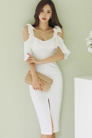 BACKORDER - Kianca Ruffle Cold Shoulder Dress In White