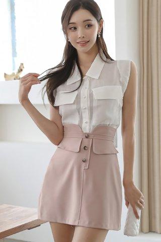 BACKORDER - Laurel Collar Top With Mini Skirt Set