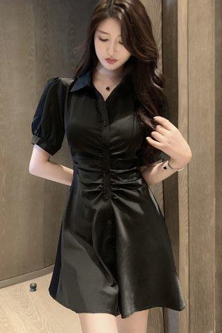 BACKORDER - Elise Collar Ruched Shirt Dress In Black