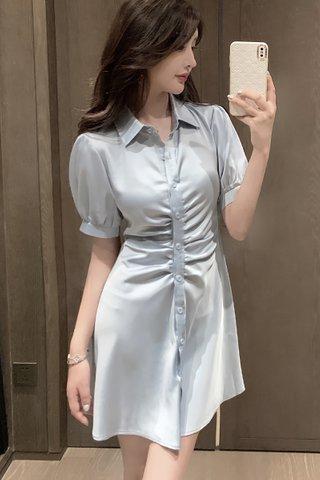 BACKORDER - Elise Collar Ruched Shirt Dress In Slate Blue