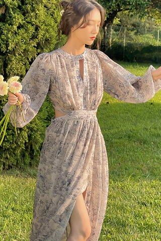 BACKORDER - Evelyn Keyhole Cut Out Slit Dress