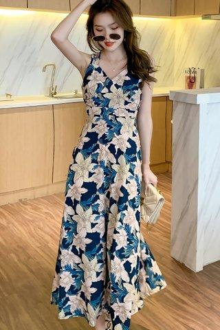 BACKORDER - Hannah Floral Back Criss Cross Dress In Blue