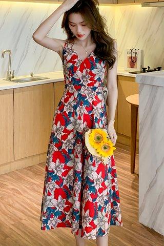 BACKORDER - Hannah Floral Back Criss Cross Dress In Red