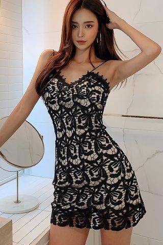 BACKORDER - Kalyna Crochet Overlay Mini Dress