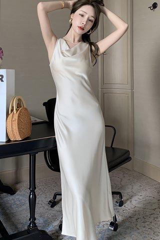 BACKORDER - Morgan Sleeveless Cowl Neck Dress In Cream