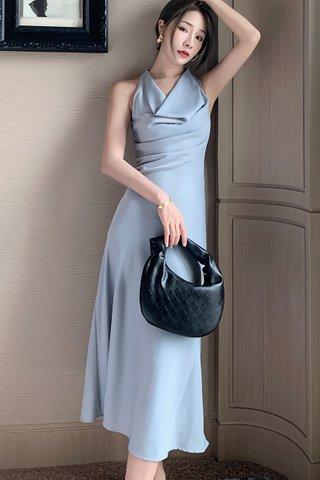 BACKORDER - Morgan Sleeveless Cowl Neck Dress In Light Blue