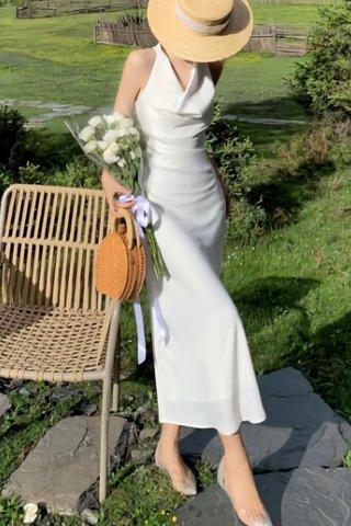 BACKORDER - Morgan Sleeveless Cowl Neck Dress In White