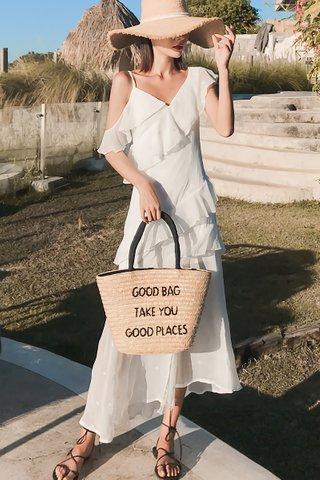 BACKORDER - Sophia Cold Shoulder Ruffle Dress In White