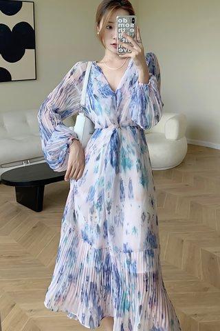 BACKORDER - Stella Sleeve Pleat Hem Dress In Blue