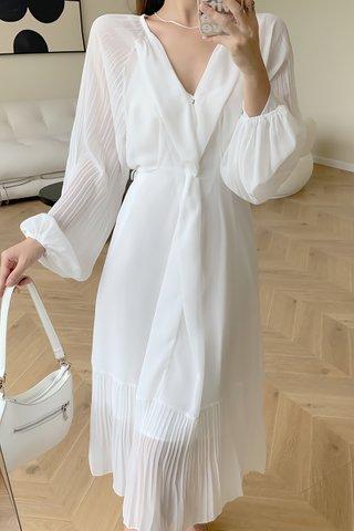 BACKORDER - Stella Sleeve Pleat Hem Dress In White