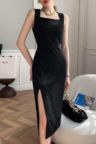 BACKORDER - Adele Sleveeless Slit Dress In Black