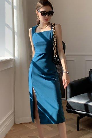 BACKORDER - Adele Sleveeless Slit Dress In Blue