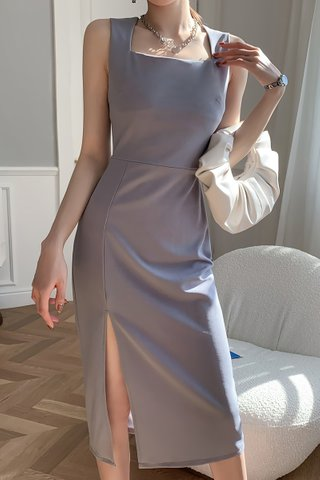 BACKORDER - Adele Sleveeless Slit Dress In Grey