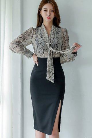 BACKORDER - Aldora Top With Side Slit Skirt Set