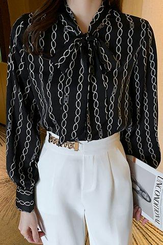 BACKORDER - Alsanda Ribbon Tie Top In Black