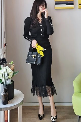 BACKORDER - Aubrey Lace Knit Top With Skirt Set