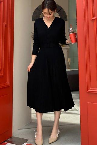 BACKORDER - Breonna Sleeve Pleat Dress In Black