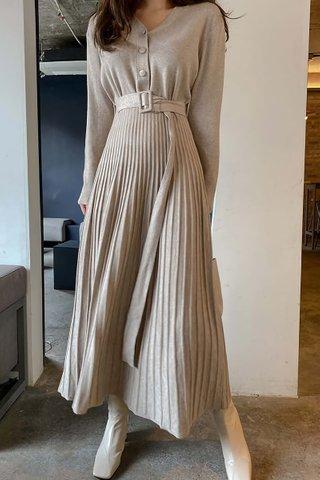 BACKORDER - Breonna Sleeve Pleat Dress In Khaki