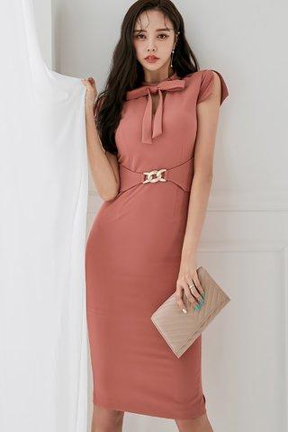 BACKORDER - Clarissa Slit Sleeve Ribbon Tie Dress In Rouge Pink