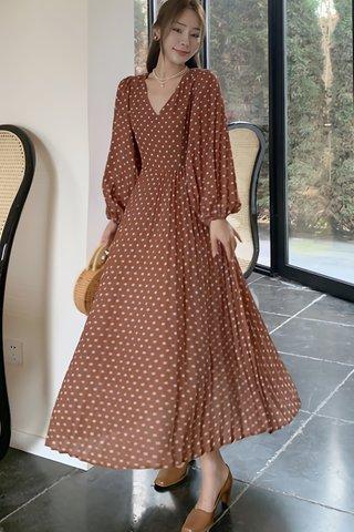 BACKORDER - Daisy Polka Dot Pleat Dress