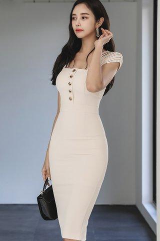BACKORDER - Devora Square Neck Dress In Cream