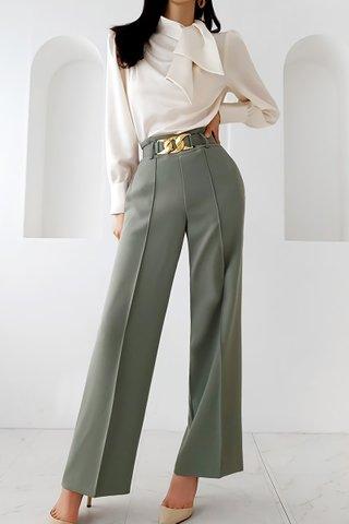 BACKORDER - Eldan Side Tie Top With Pant Set In White