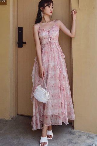 BACKORDER - Emma Floral Cascade Ruffle Dress
