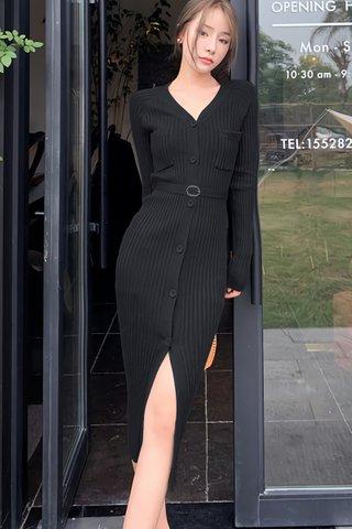 BACKORDER - Hattie Sleeve Knit Dress In Black