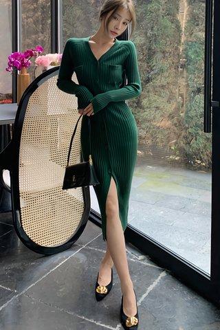 BACKORDER - Hattie Sleeve Knit Dress In Royal Green