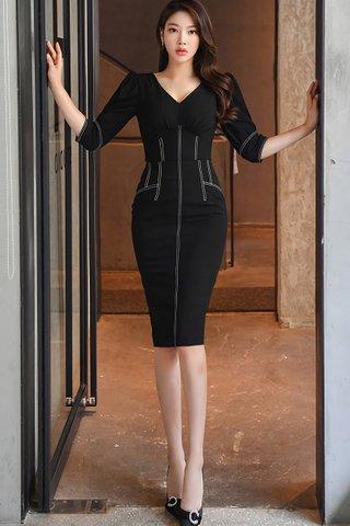 BACKORDER - Jolisa V-Neck Top With Skirt Set In Black