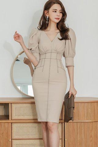 BACKORDER - Jolisa V-Neck Top With Skirt Set In Khaki