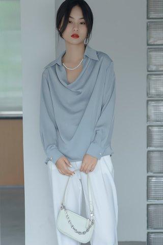 BACKORDER - Kristine Collar Cowl Neck Top In Slate Blue