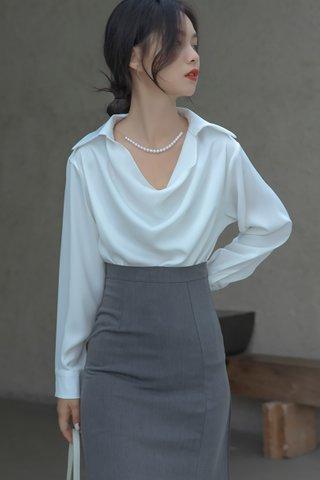 BACKORDER - Kristine Collar Cowl Neck Top In White
