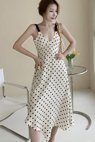BACKORDER - Maren Polka Dot Asymmetrical Hem Dress