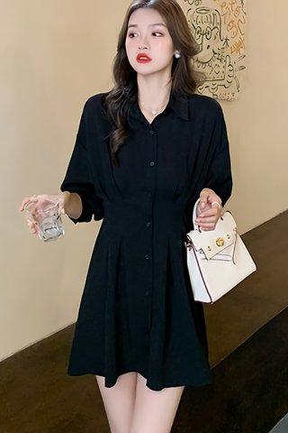 BACKORDER - Maricel Collar Panelled Dress In Black