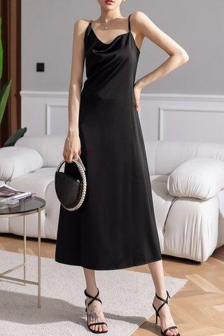 BACKORDER - Meghan Cowl Maxi Dress In Black