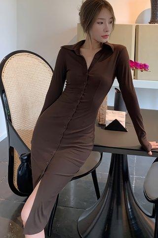 BACKORDER - Melinda Collar Sleeve Knit Dress In Brown