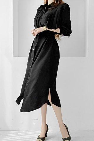 BACKORDER - Palmer Collar Pleat Dress In Black