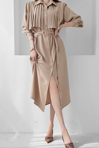 BACKORDER - Palmer Collar Pleat Dress In Khaki