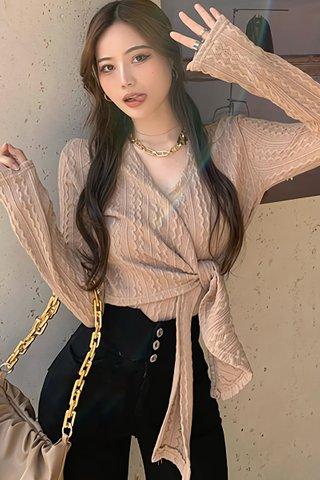 BACKORDER - Perlyn Side Tie Knit Top In Khaki