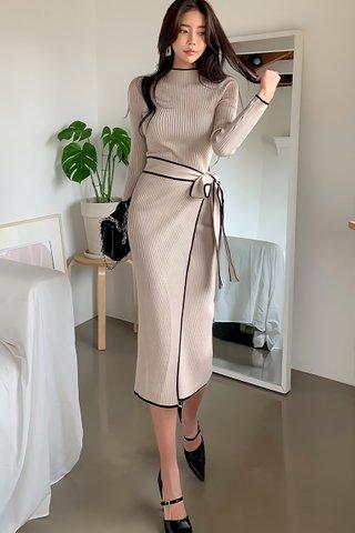 BACKORDER - Raluca Side Tie Knit Dress