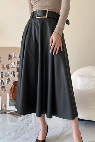 BACKORDER - Sharley High Waist PU Skirt In Black