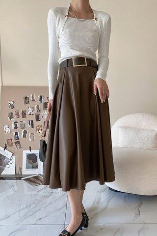 BACKORDER - Sharley High Waist PU Skirt In Coffee Brown