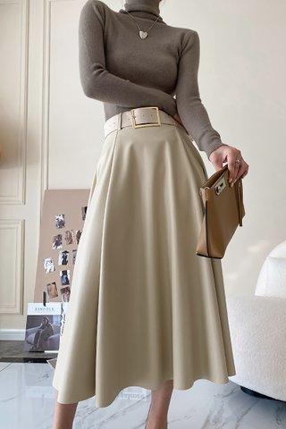 BACKORDER - Sharley High Waist PU Skirt In Cream