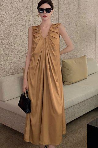 BACKORDER - Shayna Sleeveless Gathered Dress In Gold