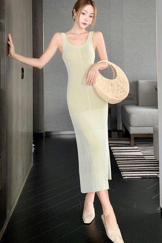 BACKORDER - Tavia U-Back Knit Dress In Olive Yellow