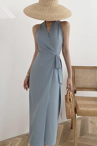 BACKORDER - Adeline V-Neck Side Tie Dress In Ash Blue