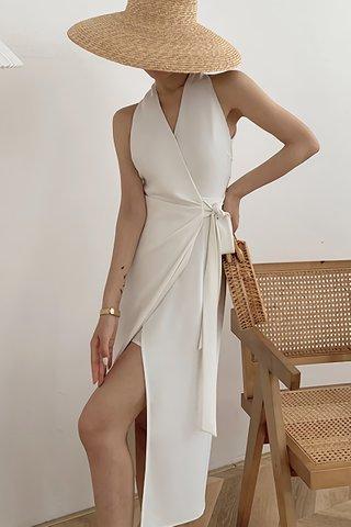 BACKORDER - Adeline V-Neck Side Tie Dress In White