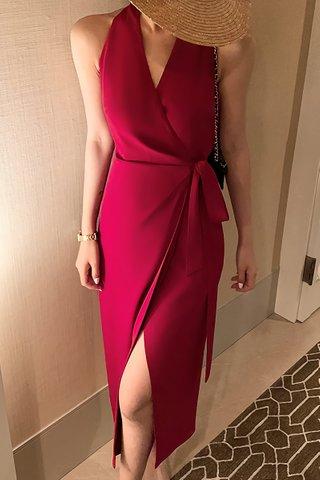BACKORDER - Adeline V-Neck Side Tie Dress In Wine Red