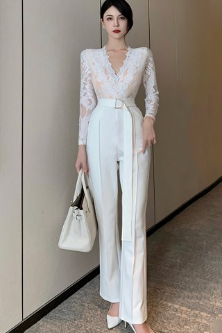 BACKORDER - Devin Lace Jumpsuit In White
